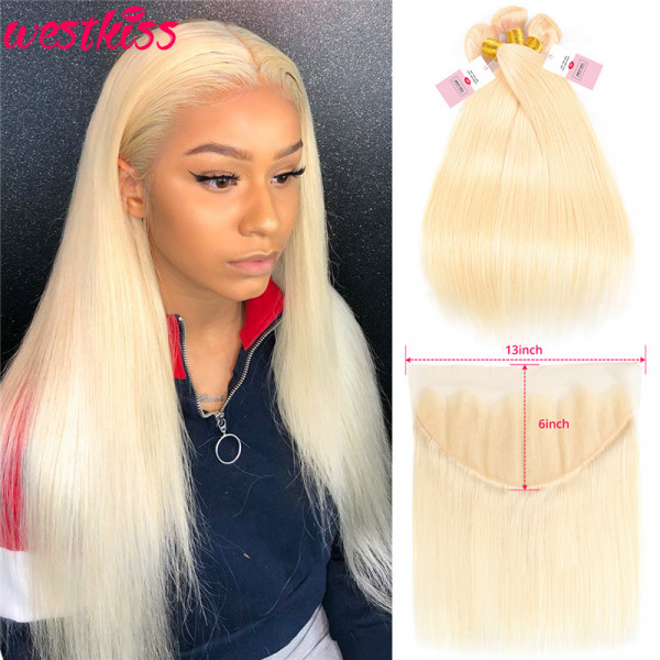 Straight 613 Hair 13*6 Lace Frontal With 3 Bundles Blonde Hair Bundles And Frontal