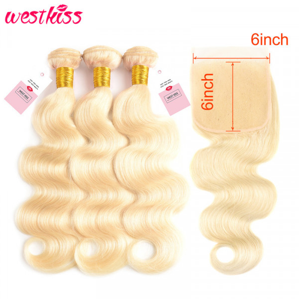 613 Blonde Hair 6*6 Lace Closure And Blonde Body Wave Weave 613 Bundles With Closure