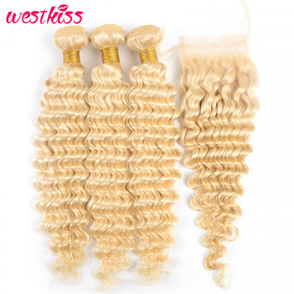 613 Blonde Weave Deep Wave 3 Bundles With a Closure 613 Human Hair Bundles And Closure