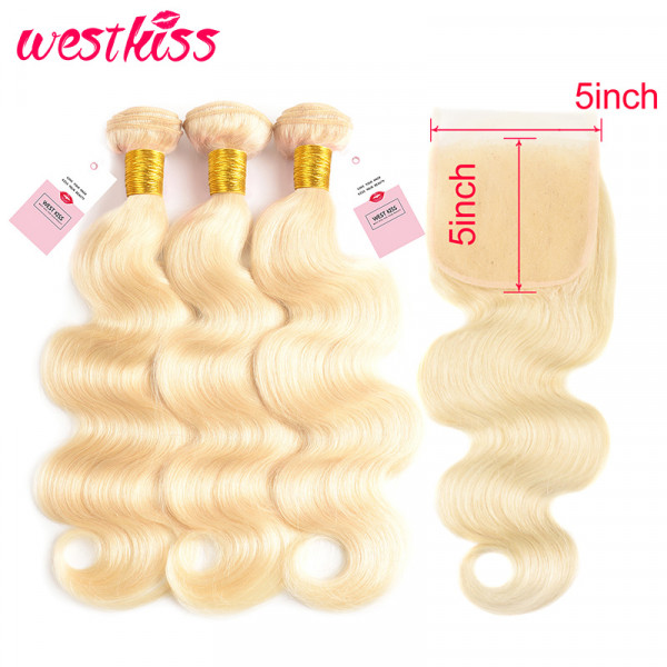 Color 613 5*5 Lace Closures Body Wave And 3 Bundles Blonde Brazilian Body Wave Hair Bundles