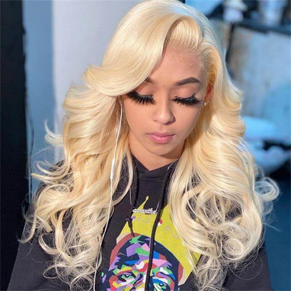 Color 613 4x4 Closure Wigs Natural Body Wave Straight Blonde Wigs