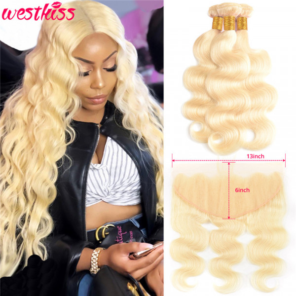 Color 613 13*6 Lace Frontal And 3 Bundles Blonde Body Wave weave