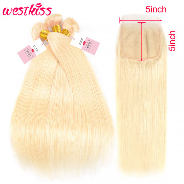 Blonde Straight Hair 5*5 Lace Closure With 3 Bundles Brazilian Virgin Straight Human Hair Weaves