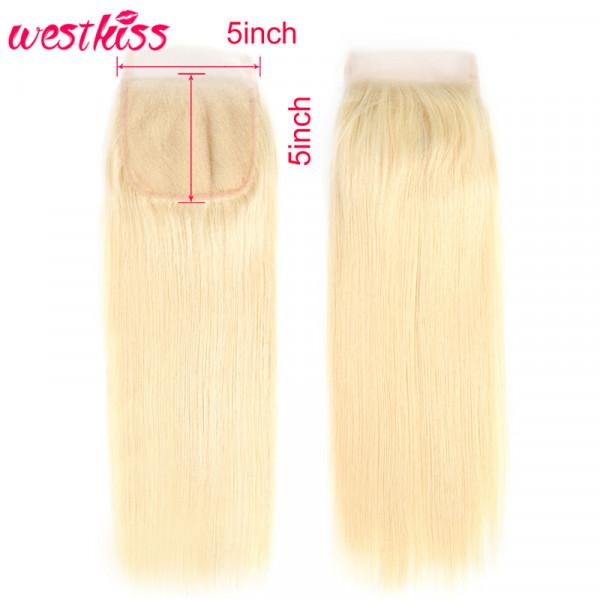 Blonde Straight Hair 5x5 Lace Closure 613 Straight Hair Virgin Human Hair 5*5 Lace Closures
