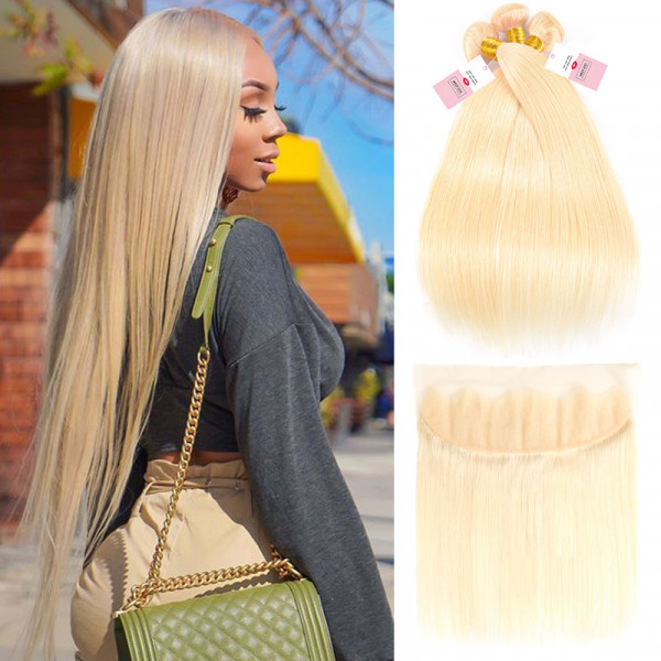 Straight Virgin Hair 613 Color 13*4 Lace Frontal Closure With  3 Bundles Blonde Weave