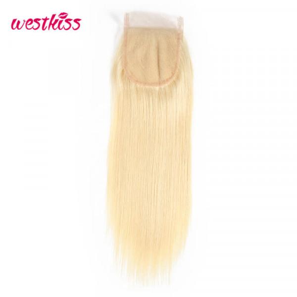 Straight Hair 613 Blonde Lace Closure Free Part 4x4 Virgin Human Hair Closure