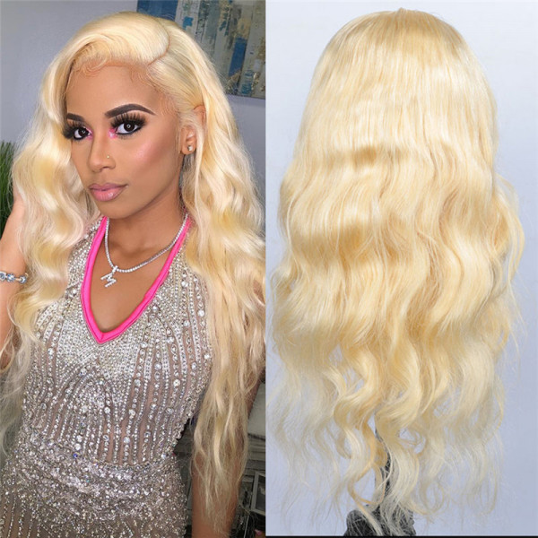 Blonde Lace Front Wigs Color 613 Body Wave Real Human Hair Lace Wigs With Baby Hair