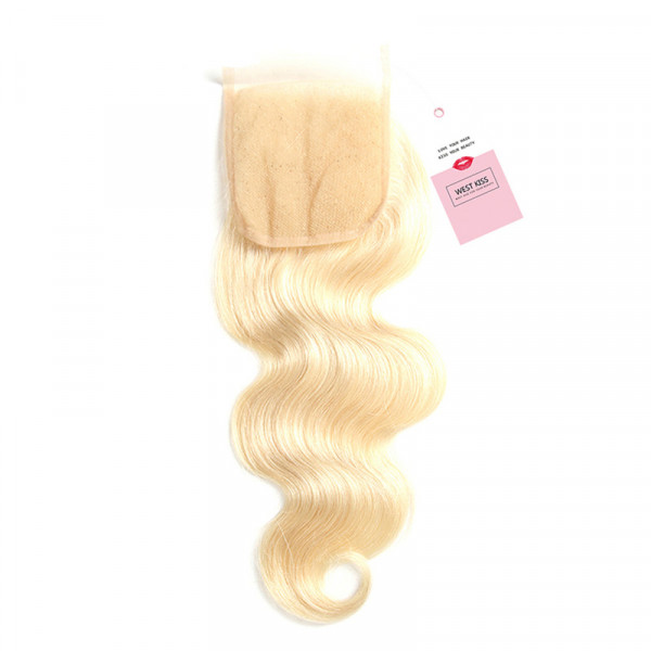 613 Color Body Wave 4x4 Lace Closure Blonde Closures With Baby Hair
