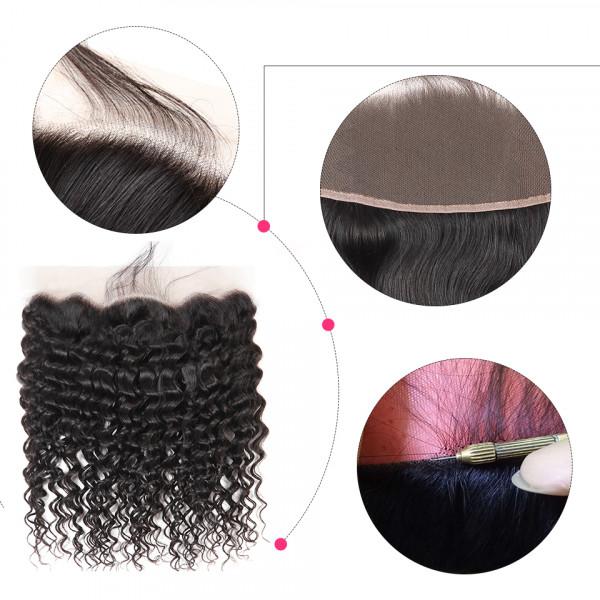 13x4 Brazilian Lace Frontal Closure Deep Wave Human Hair Good Virgin Hair Frontal