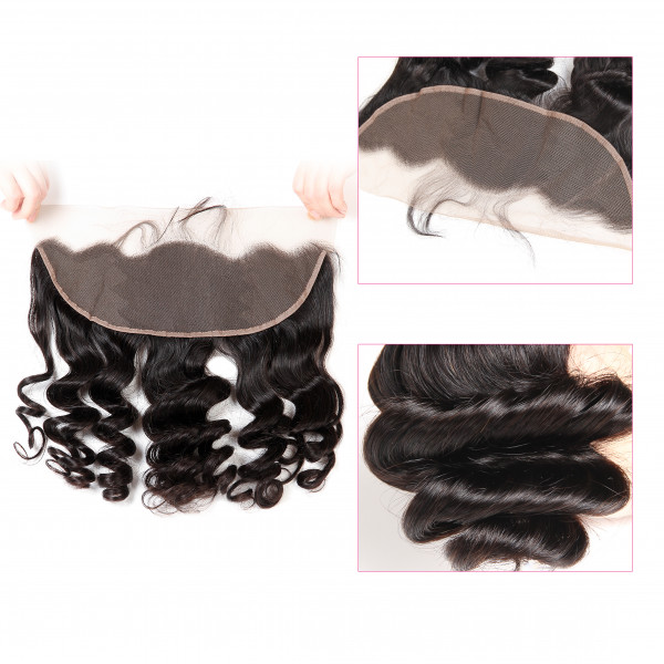 Brazilian Loose Wave Human Hair with 13×4 Lace Frontal Closure