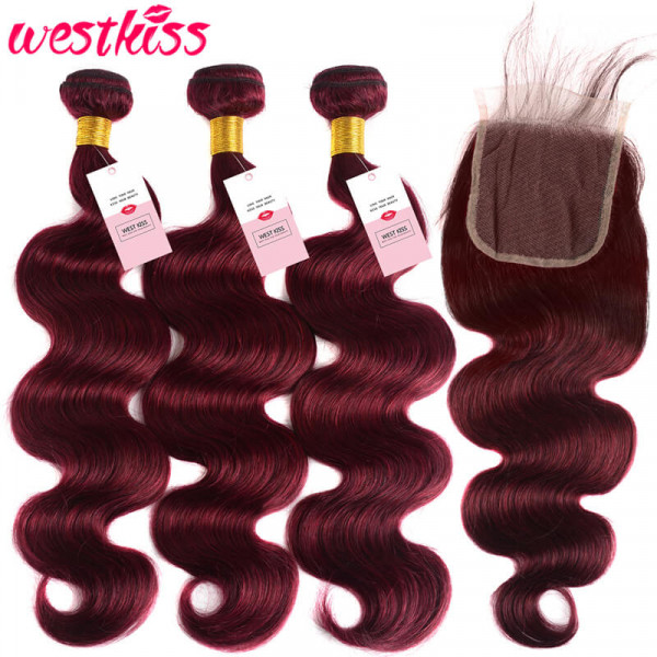 99J Body Wave 3 Bundles And 4*4 Lace Closure Burgundy Hair Weaves With Closures