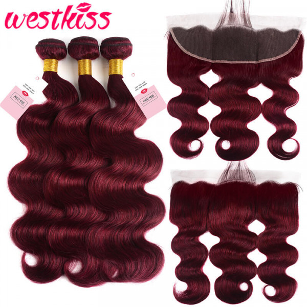 Pre Colored 99J Burgundy Body Wave Human Hair 3 Bundles With 13*4 Frontal