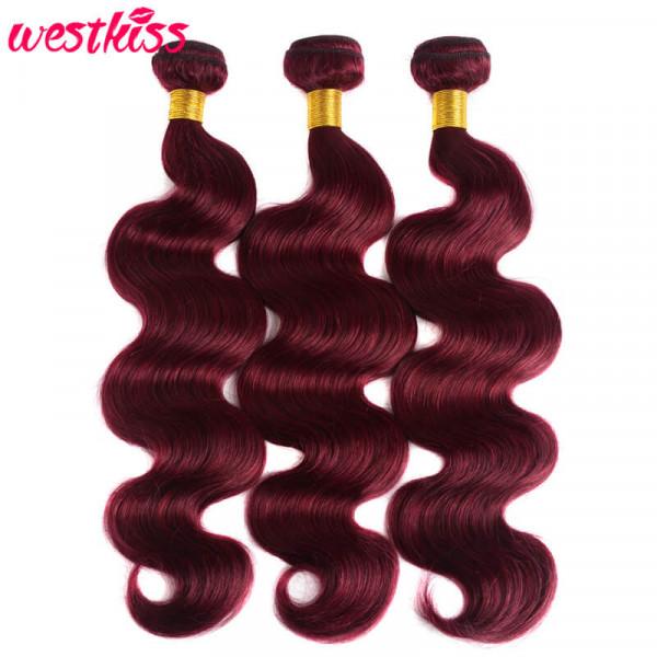Brazilian Hair Pre-Colored 99J Burgundy Body Wave 3PCS/Packet