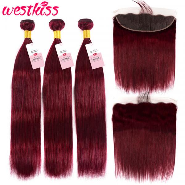99J Straight Hair Lace Frontal Closure And 3 Bundles Brazilian Virgin Hair Bundles Deals
