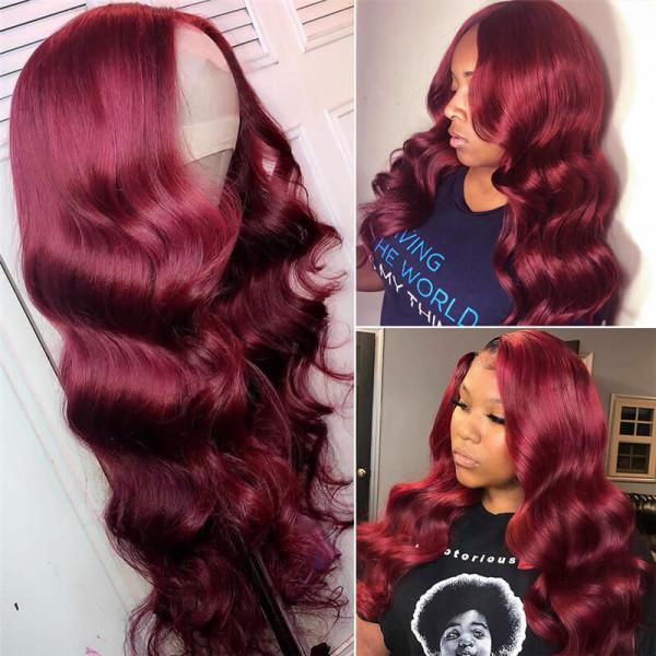99J Body Wave Wigs 4*4 / 5*5 Closure Wigs Burgundy Colored Wigs