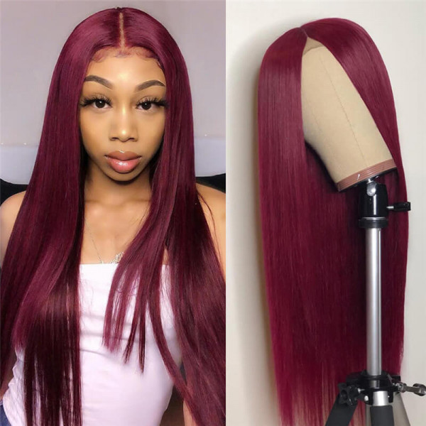 1B/99J 99J Colored Lace Front Wigs Straight Pre Plucked Human Hair With Baby Hair