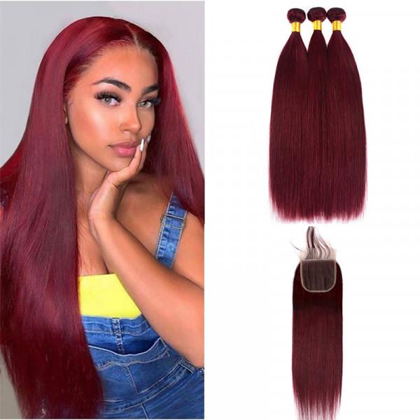 Burgundy Bundles Straight Hair 99J Color 3 Bundles With 4*4 Lace Closure 100% Human Hair Bundles