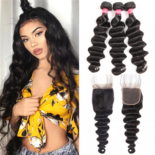 Loose Deep 3pc Weaves With Closures 4*4 Lace Closures Human Hair Extensions