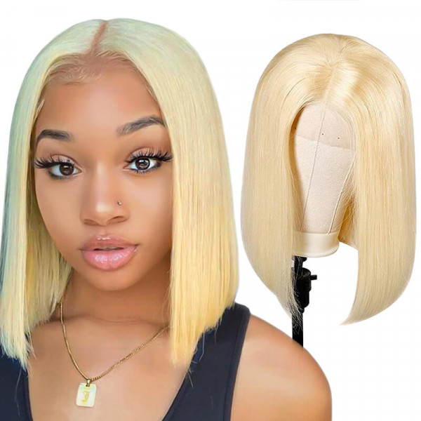 #613 Straight 4*4 Bob Wigs Middle Part Short Blonde Bob Wigs