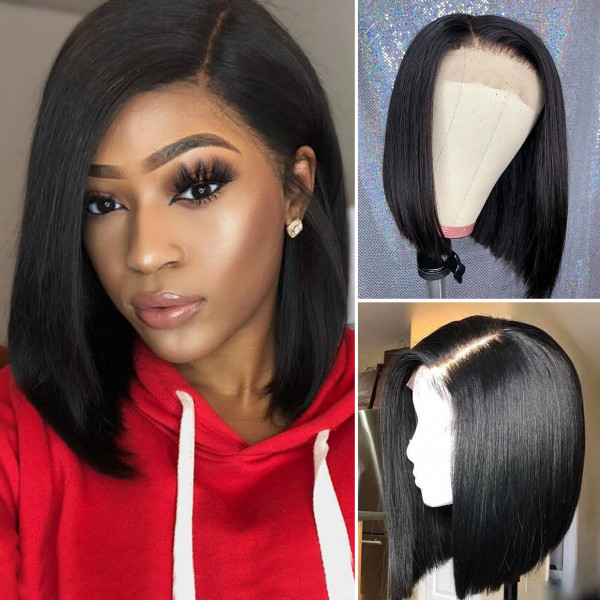 Human Hair Short Bob Wigs Brazilian Virgin Straight Hair Lace Front Wigs
