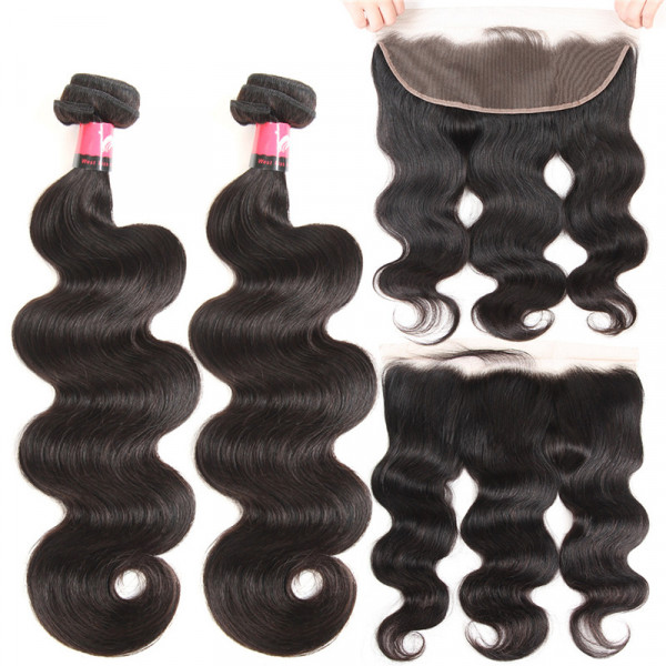 Brazilian Body Wave Hair 2 Bundles And a 13x4 Ear To Ear Lace Frontal Closure Brazilian Hair Bundles And Lace Frontal