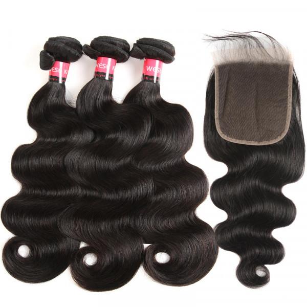 Brazilian Body Wave Hair Bundles 3 Bundles And 5*5 Lace Closure 100% Human Hair