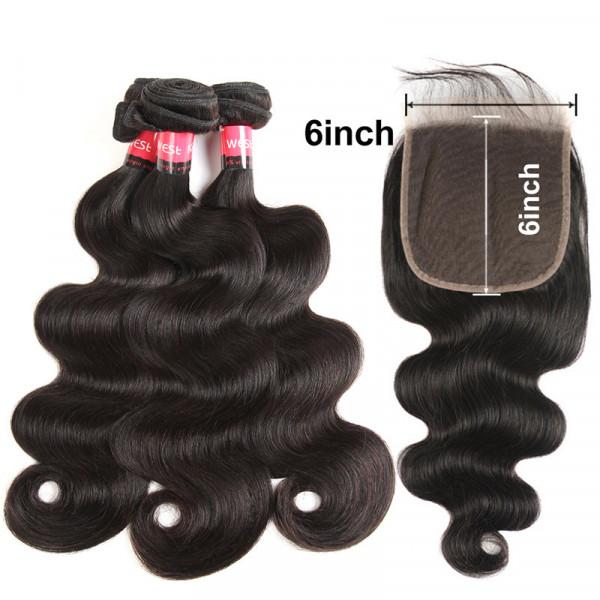 Swiss Lace 6*6 Closure And 3 Bundles Brazilian Body Wave Hair Brazilian Virgin Hair Body Wave With Closure