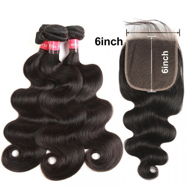 Swiss Lace 6x6 Closure And 3 Bundles Brazilian Body Wave Hair
