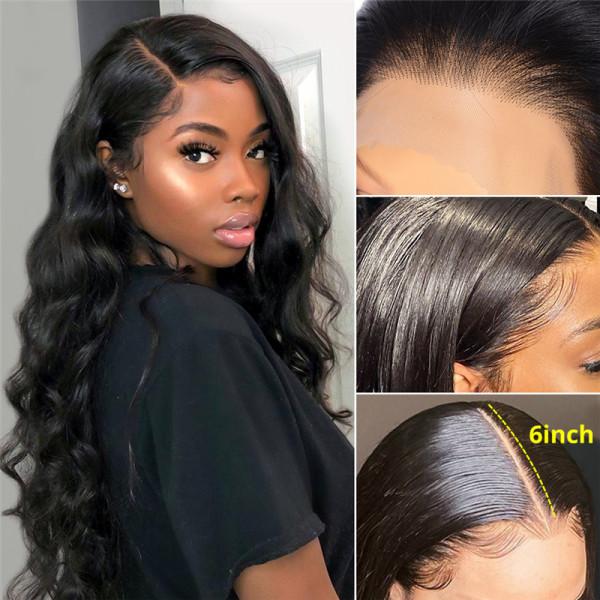 Body Wave 6*6 Closure Wigs Brazilian Lace Front Wigs 180% Density Glueless Lace Wigs