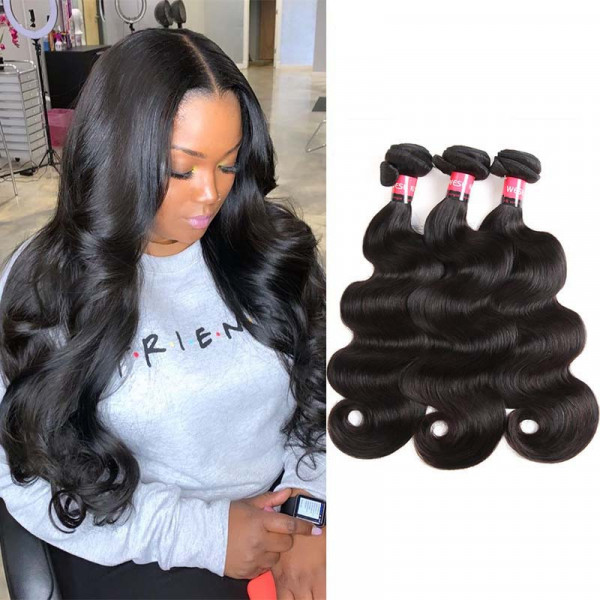 West Kiss 100% Human Hair Weaving Virgin Peruvian Body Wave Hair 3 Bundles