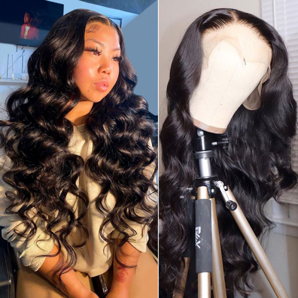 Body Wave 180% Density Human Hair Lace Front Wigs For Black Women