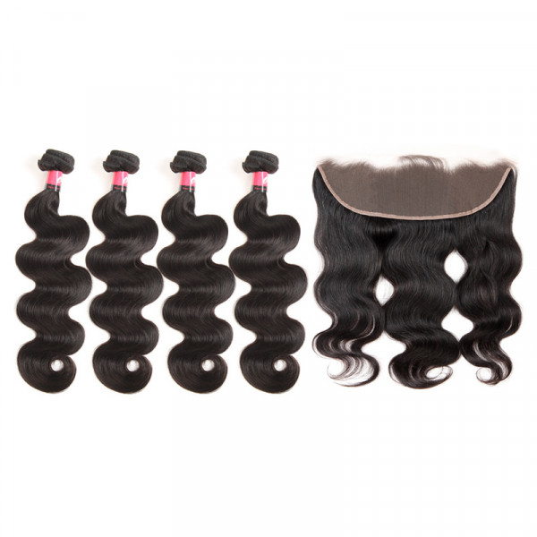 100% Human Hair Weaves 4 Bundles Brazilian Body Wave And 13x4 Lace Frontals Closures