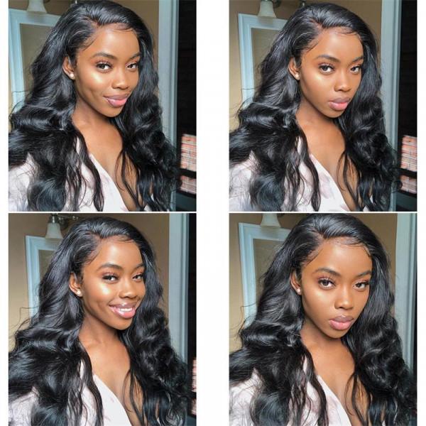 Best Body Wave Real Brazilian Black Hair Lace Wigs Hair 180% Density Lace Frontal Wigs