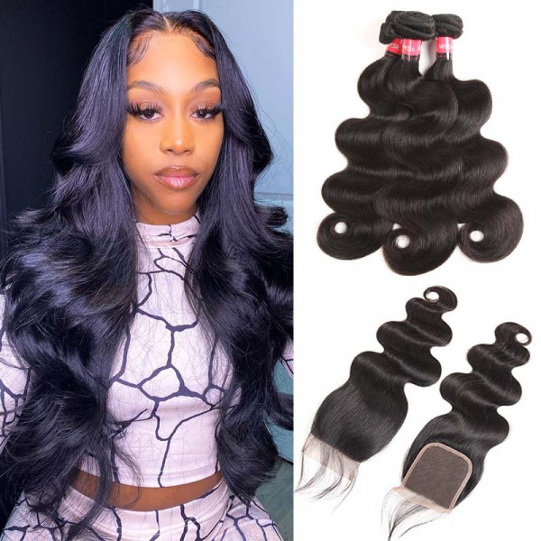 Virgin Body Wave Weave 3 Bundle Hair Deals With Closure Malaysian Hair For Sale
