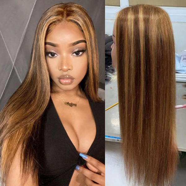 Straight Highlight Wigs Dark Brown Lace Front Wig With Blonde Highlights