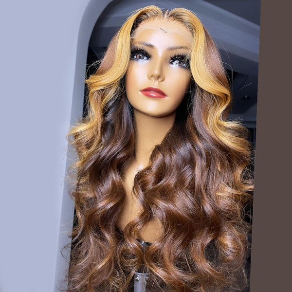 Brown Wig With Honey Blonde Frontal Highlights Lace Front Wig Body Wave