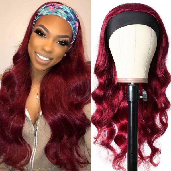 Burgundy Headband Wigs Human Hair Wigs With Hair Headbands
