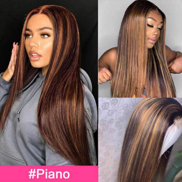 Highlight Wigs Straight Lace Part Wigs Body Wave Colored Human Hair Wigs