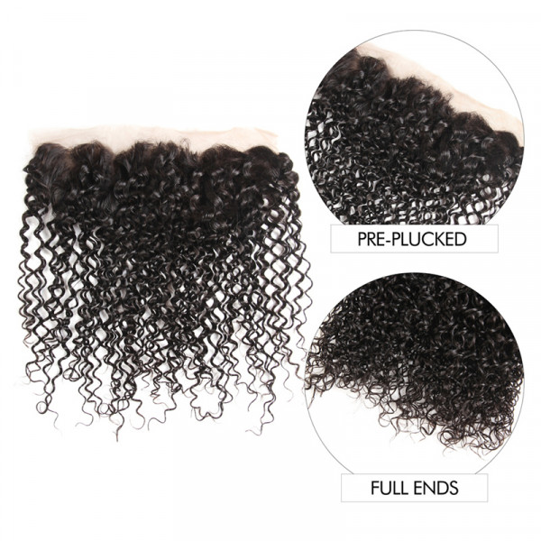 Malaysian Curly Hair 13*4 Full Lace Frontal Closures Curly Weave Hairstyles