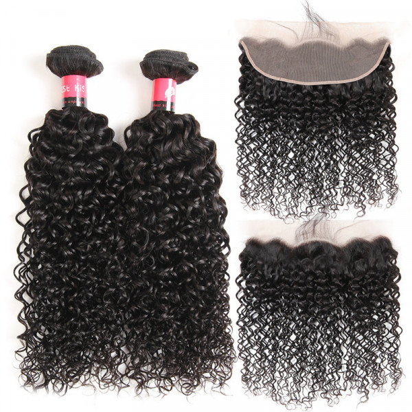 Kinky Curly Human Hair 2 Bundles And a Pre Plucked 13x4 Lace Frontal