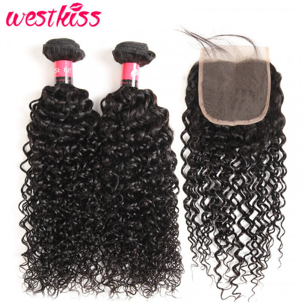 Jerry Curly Weave Human Hair 2 Bundles With 4x4 Lace Closure