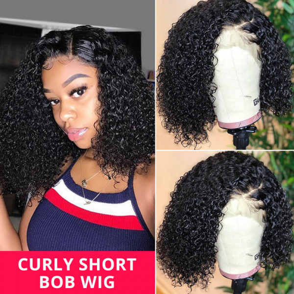 Lace Front Bob Wigs Curly Hair Short Wigs Affordable Curly Lace Front Wigs