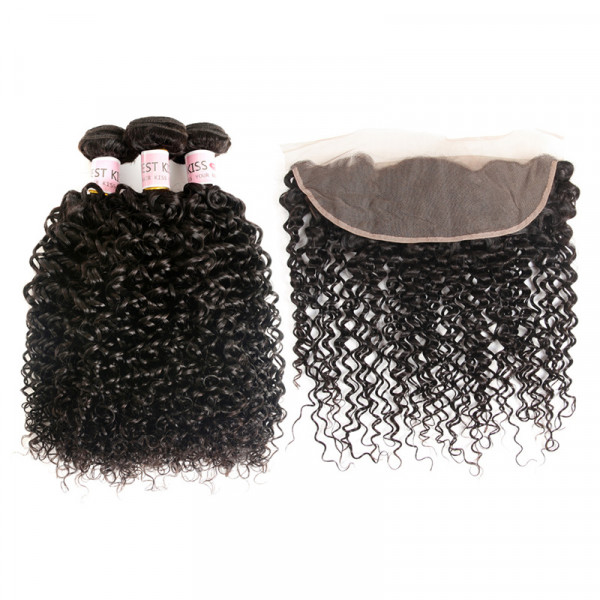 Virgin Curly Hair 3 Bundles with 13x4 Lace Frontal Curly Afro Human Hair Weave
