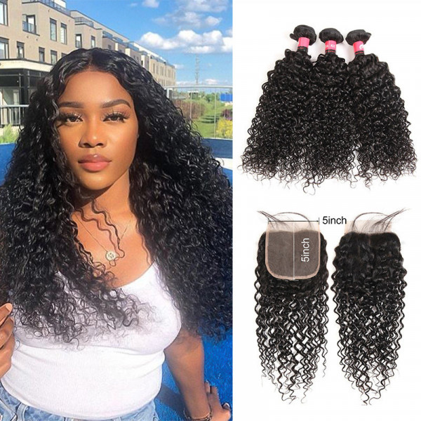 Human Hair Curly Hair 3 Bundles With 5x5 Inch Lace Closure