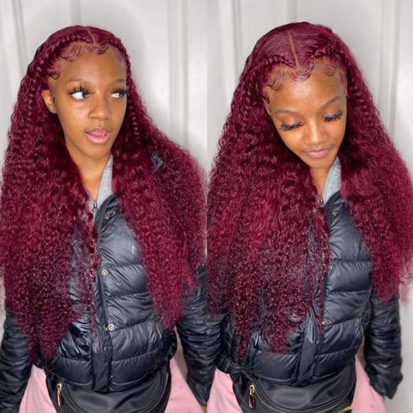 99J Colored Affordable Curly Hair Lace Front Wigs Brazilian Human Hair Real Hair Wigs For Women