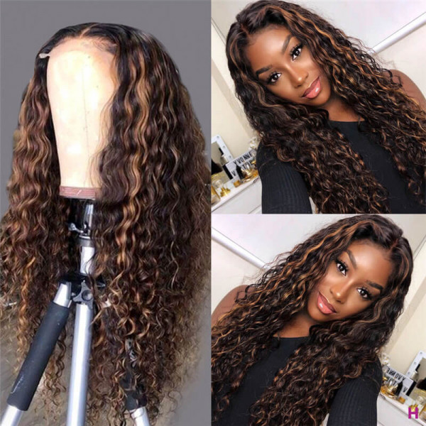 Curly Hair Highlight Wigs 100 Human Hair Curly Lace Front Wigs Ombre Wigs