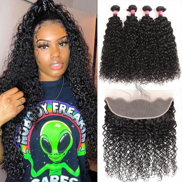 Pre Plucked 13*4 Lace Frontal Closure With Kinky Curly Wave 4 Bundles