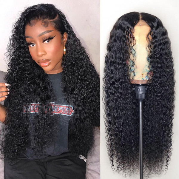 Kinky Curly 180% Density Full Lace Wig Brazilian Human Hair Curly Hair Lace Wigs
