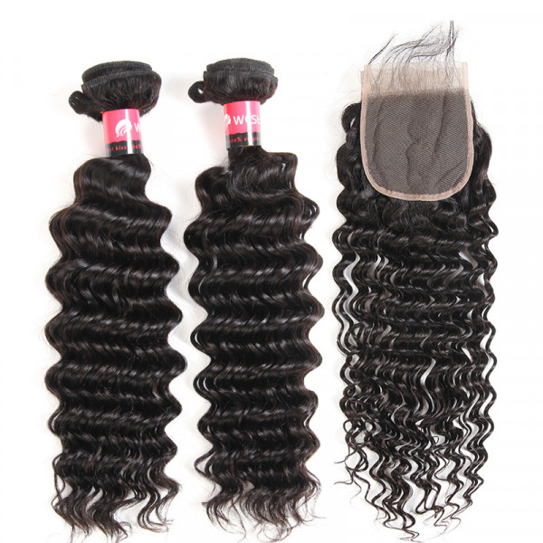 Brazilian Deep Wave 2 Bundles With Closure Virgin Hair Bundles Deep Weave And 4*4 Lace Closure