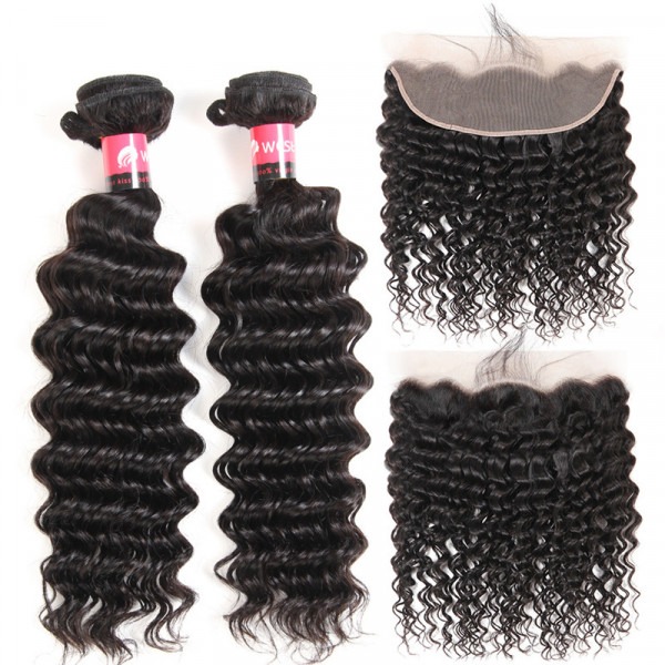 Deep Wave 2 Bundles And Lace Frontal Brazilian Hair Bundles With Deep Wave Frontal Closure